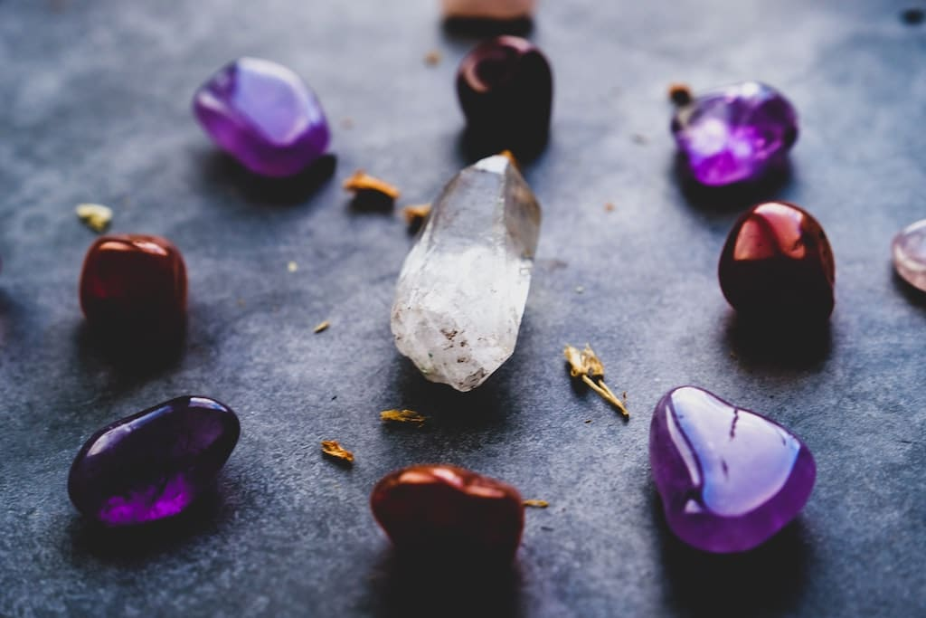 multiple healing crystals, psychedelic integration