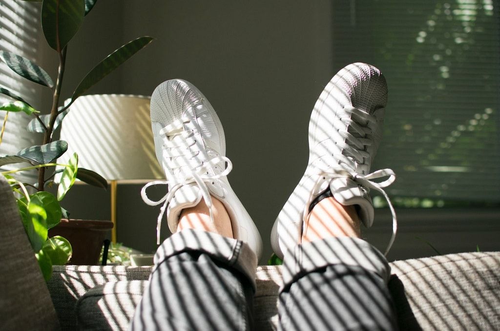 white tennis shoes on couch, what is the process like at a ketamine clinic