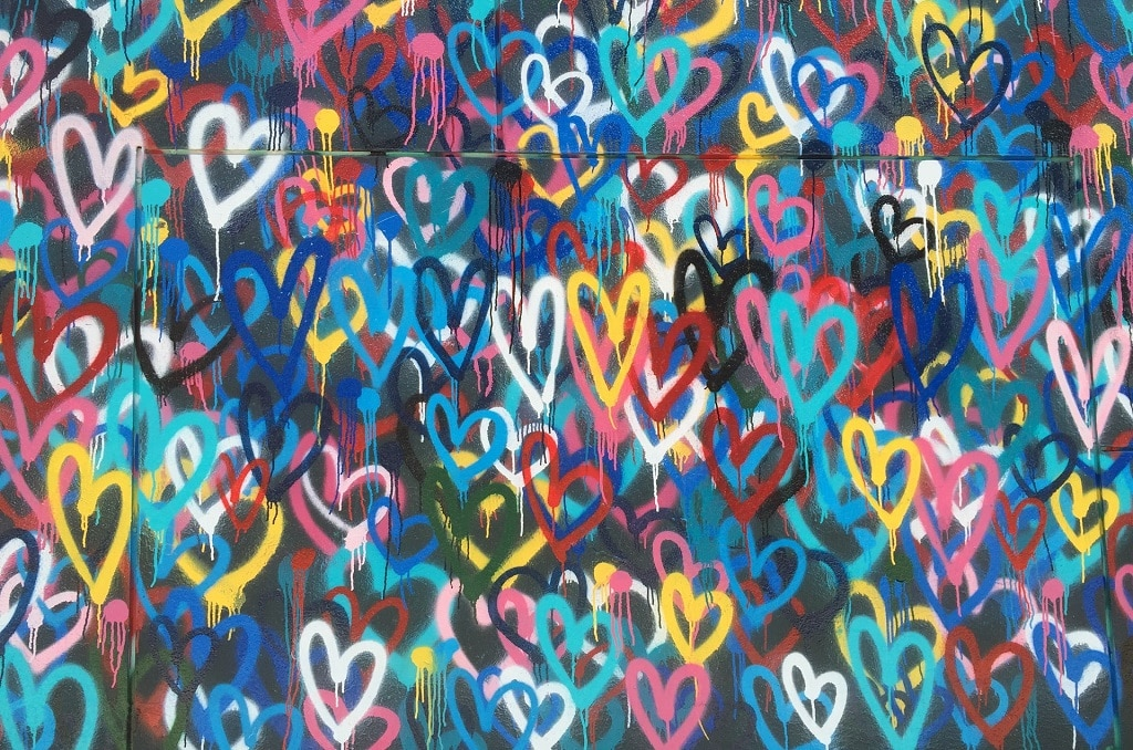 colorful heart graffiti, self love and compassion with psychedelics