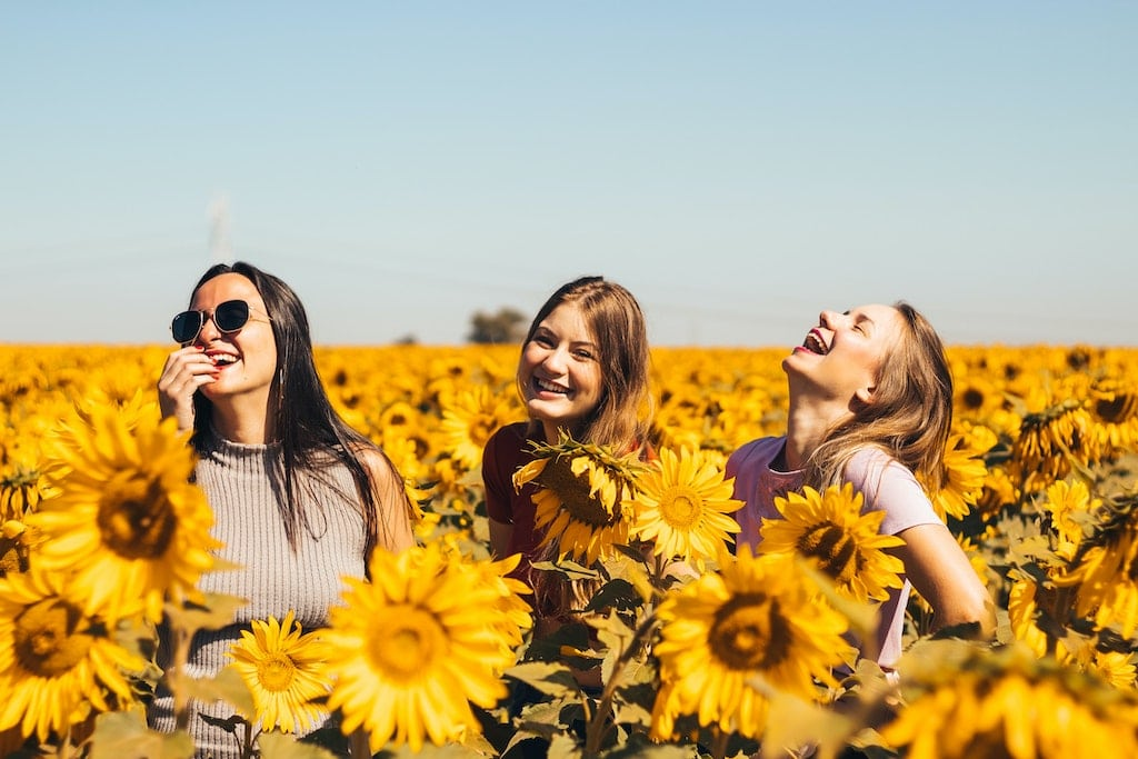 three woman laughing in a field of sunflowers, how can psychedelics benefit happy people