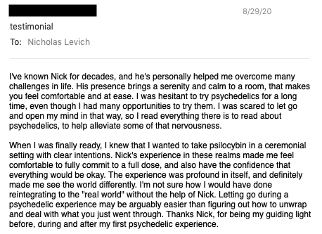 Psychedelic Passage Testimonial 1