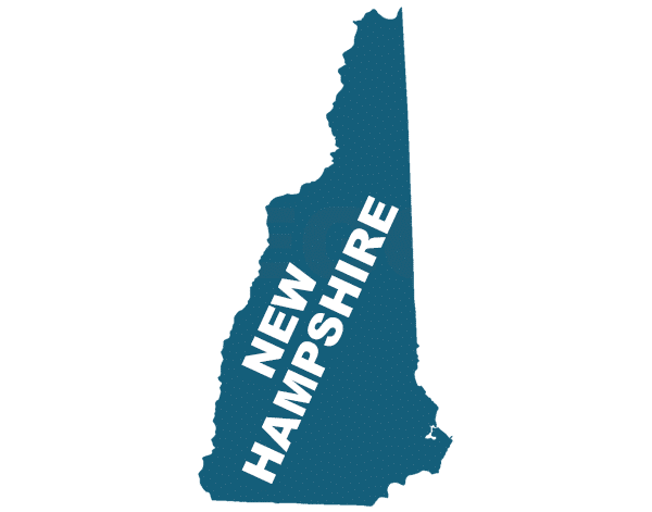New Hampshire state outline, trip sitting in new hampshire