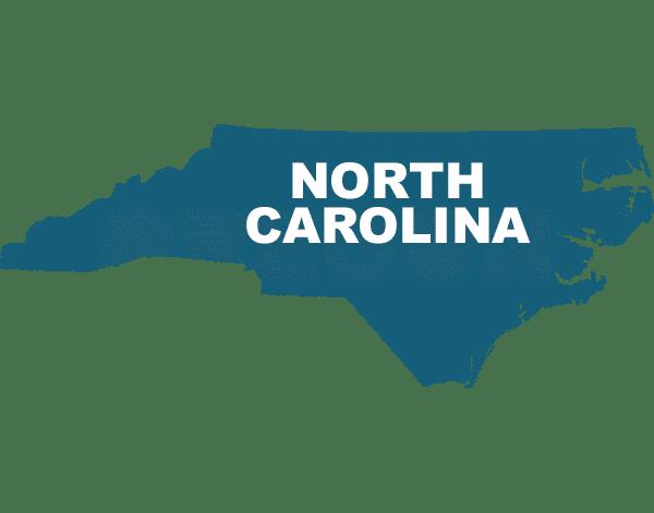 North Carolina state outline, trip sitting in North Carolina