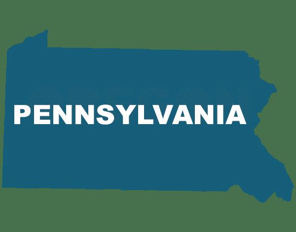 Pennsylvania state outline, trip sitting in Pennsylvania