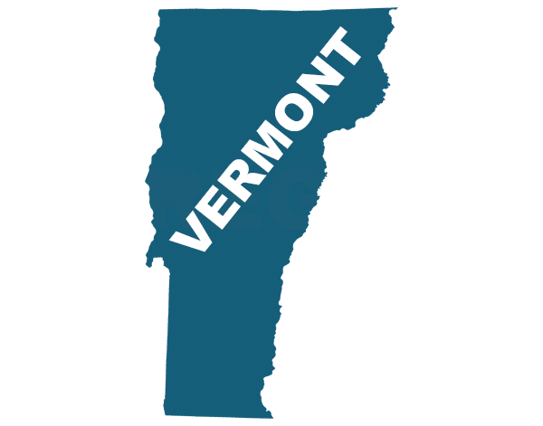 Vermont state outline, trip sitting in Vermont