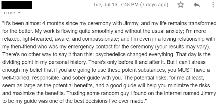 Psychedelic Passage Client Testimonial